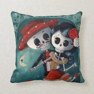 The Day of The Dead Skeleton Lovers Throw Pillow