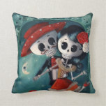 The Day of The Dead Skeleton Lovers Throw Pillows