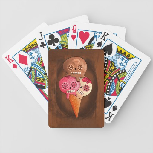 The Day of The Dead Sugar Skulls Ice Cream Bicycle Playing Cards