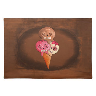 The Day of The Dead Sugar Skulls Ice Cream Cloth Placemat