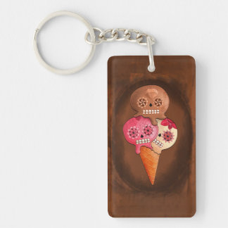 The Day of The Dead Sugar Skulls Ice Cream Single-Sided Rectangular Acrylic Keychain
