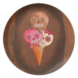 The Day of The Dead Sugar Skulls Ice Cream Plate