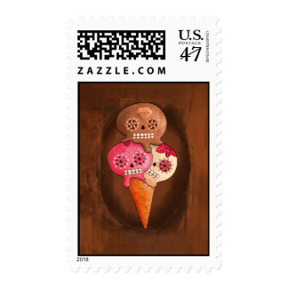 The Day of The Dead Sugar Skulls Ice Cream Postage Stamp