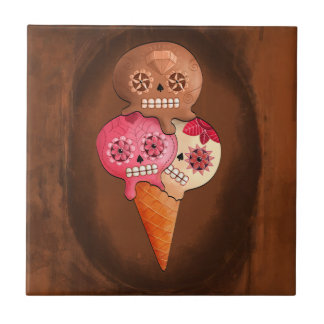 The Day of The Dead Sugar Skulls Ice Cream Tile