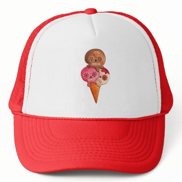 Halloween Themed The Day of The Dead Sugar Skulls Ice Cream Trucker Hat