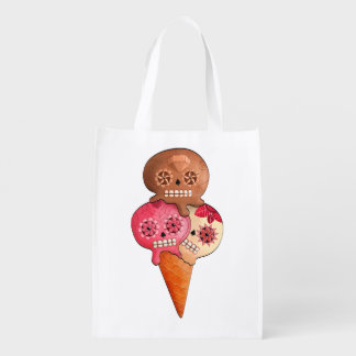 The Day of The Dead Sugar Skulls Ice Cream Reusable Grocery Bags