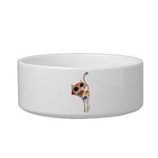 The Day of The Dead White Cute Cat Bowl