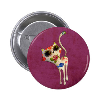 The Day of The Dead White Cute Cat 2 Inch Round Button