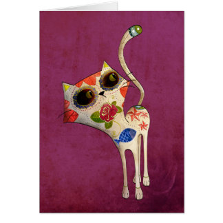 The Day of The Dead White Cute Cat Card