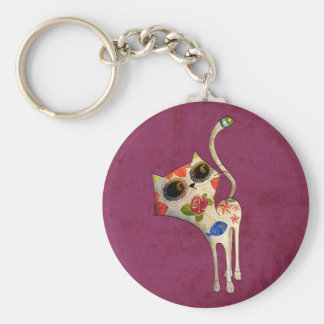 The Day of The Dead White Cute Cat Keychain