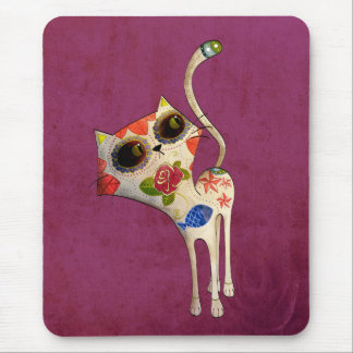 The Day of The Dead White Cute Cat Mouse Pad