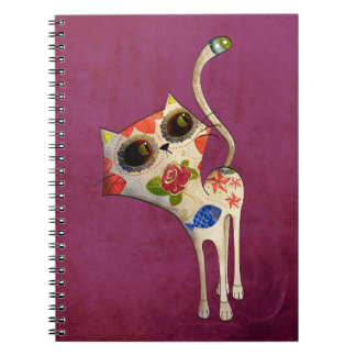 The Day of The Dead White Cute Cat Spiral Notebooks