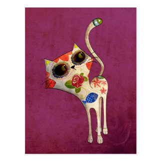 The Day of The Dead White Cute Cat Postcard