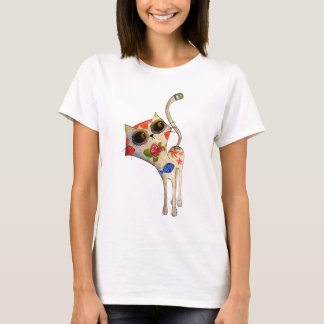 The Day of The Dead White Cute Cat T-Shirt