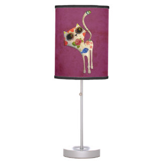 The Day of The Dead White Cute Cat Table Lamp