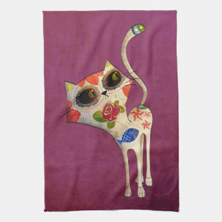 The Day of The Dead White Cute Cat Towels