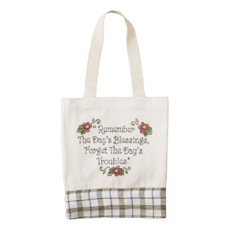 The Day's Blessings Forget the Day's Troubles Zazzle HEART Tote Bag