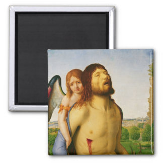 The Dead Christ Supported by an Angel, c.1475/78 2 Inch Square Magnet