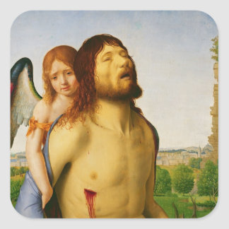 The Dead Christ Supported by an Angel, c.1475/78 Square Sticker
