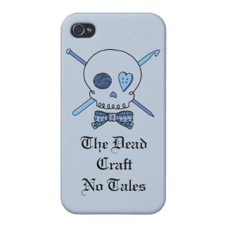 The Dead Craft No Tales - Craft Skull (Blue) iPhone 4 Cover