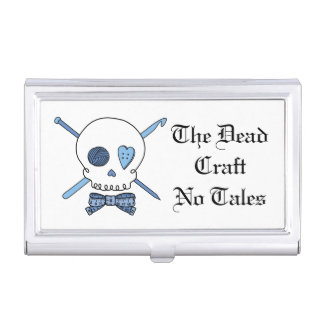 The Dead Craft No Tales - Craft Skull (Blue) Business Card Holders