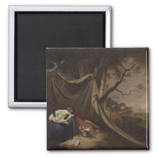 The Dead Soldier, c.1789 (oil on canvas) 2 Inch Square Magnet