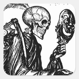 The death calls square sticker