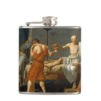 The Death of Socrates by Jacques-Louis David Hip Flask