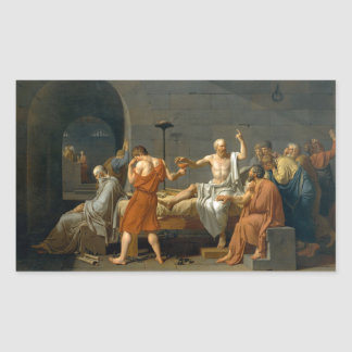 The Death of Socrates by Jacques-Louis David Rectangular Sticker