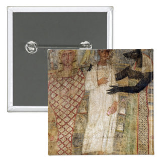 The deceased and his mummy protected by Anubis 2 Inch Square Button