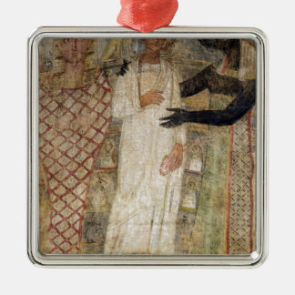 The deceased and his mummy protected by Anubis Square Metal Christmas Ornament
