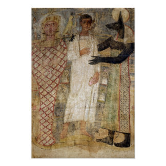 The deceased and his mummy protected by Anubis Poster