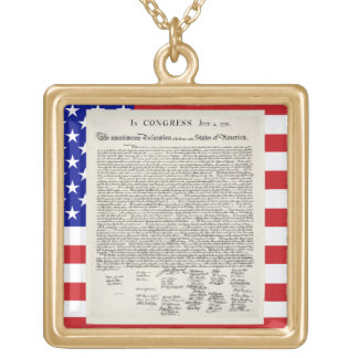 The Declaration Of Independence Gold Plated Necklace