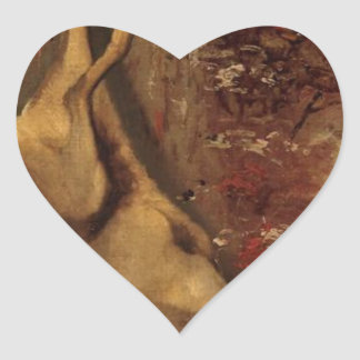 The Deer by Gustave Courbet Heart Sticker