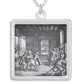 The Defenestration of Prague in 1618 Square Pendant Necklace