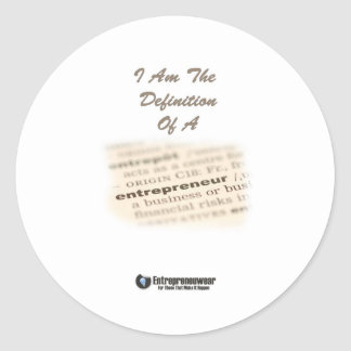 The Definition Of An Entrepreneur Round Stickers