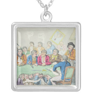The delegates in council or beggars on horseback silver plated necklace