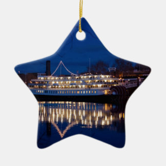 The Delta King at night - Sacramento, CA Ceramic Ornament