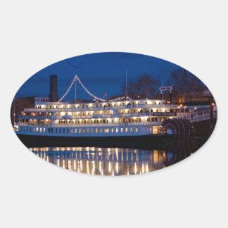 The Delta King at night - Sacramento, CA Oval Sticker