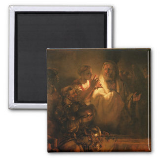 The Denial of St. Peter, 1660 (oil on canvas) 2 Inch Square Magnet