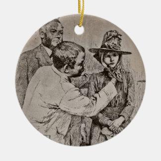 The Dentist Putting on Girl's Bonnet Ceramic Ornament