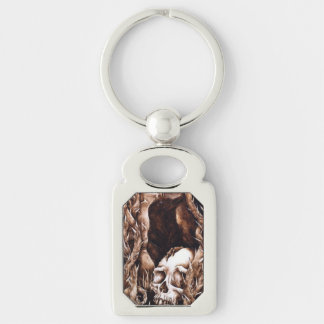 The Departed - Crow and Skull Rectangular Keychain