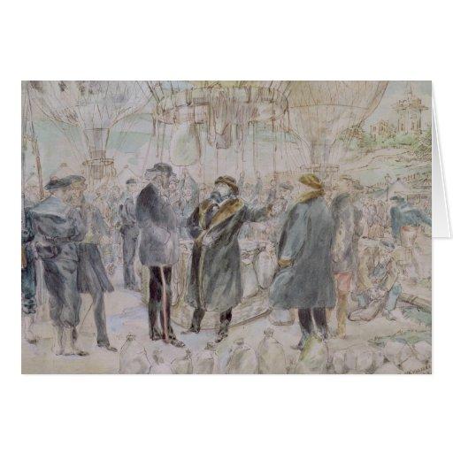 The Departure of Leon Michel Gambetta Card