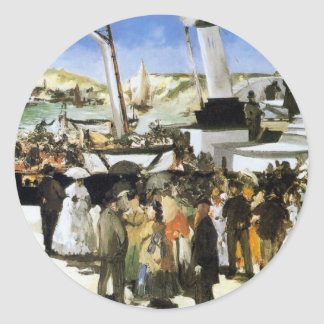 The Departure of the vapor of Folkestone - Manet Classic Round Sticker