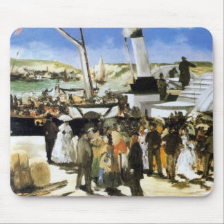 The Departure of the vapor of Folkestone - Manet Mouse Pad