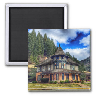 The Depot in Wallace Idaho 2 Inch Square Magnet