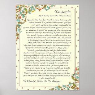 image relating to The Desiderata Poem Printable called Desiderata Poem Artwork Wall Décor Zazzle
