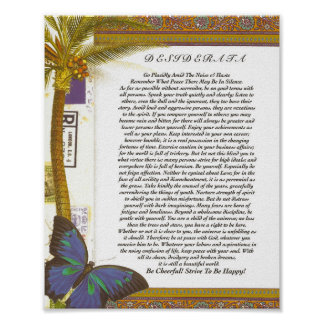 The Desiderata Poem with Palm Tree and Butterfly Poster