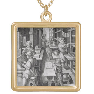 The Development of Printing, plate 5 from 'Nova Re Square Pendant Necklace