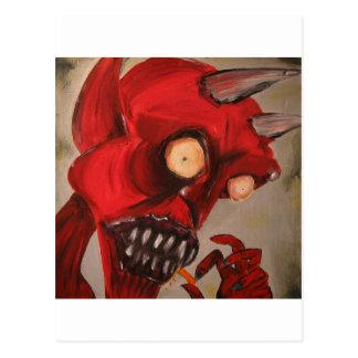 The Devil Eats Cheese Puffs Post Card